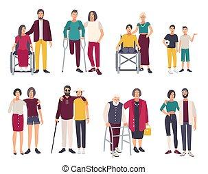 vrolijke , invalide, mensen, met, friends., spotprent, plat, illustraties, set.