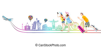 vrolijke , jonge, backpackers, gaan, aan reis, wereldwijd,...