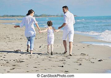 vrolijke , jonge familie, hebben vermaak, op, strand