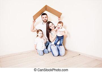 vrolijke , jonge familie, onder, een, brandkast, dak, concept