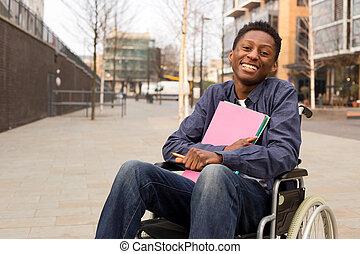 vrolijke , jonge, gehandicapte man, in, een, wheelchair,...
