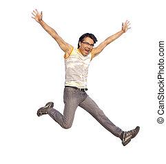 vrolijke , jonge man, het springen in, lucht, met, uitgebreide wapens, vrijstaand