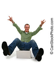 vrolijke , jonge man, met, draagbare computer