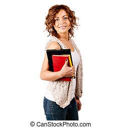 vrolijke , jonge, student, meisje, vasthouden, boekjes , studeren, opleiding, kennis, doel, concept