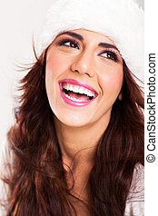 vrolijke , jonge vrouw , lachen