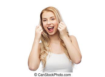 vrolijke , jonge vrouw , met, dentale floss, schoonmakende...