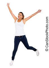 vrolijke , jonge vrouw , springt