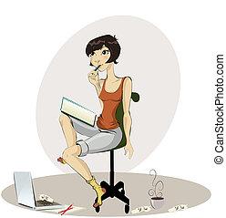 vrolijke , jonge vrouw , tekening