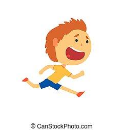 vrolijke , jongen lopend, geitjes, lichamelijke activiteit, spotprent, vector, illustratie