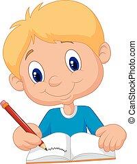 vrolijke , jongen, spotprent, schrijvende , in, een, boek