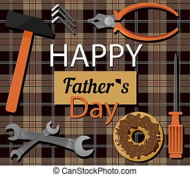 vrolijke , kaart, verdediger, papa, feestelijk, inscriptie, plat, ornament., vader, dag, locksmiths, gereedschap, doughnut, day., illustratie, achtergrond, kooi, groet, s, engelse