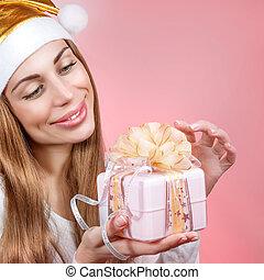vrolijke , kerstman, meisje