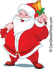 vrolijke , kerstman, met, klok