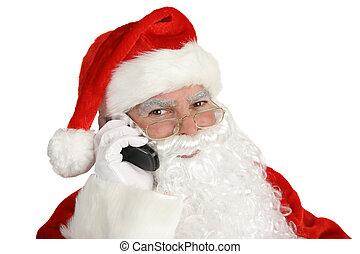 vrolijke , kerstman, op telefoon