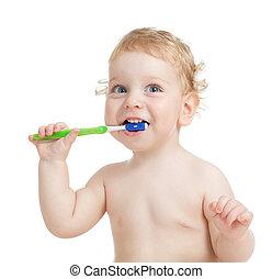 vrolijke , kind, borstelende teeth, vrijstaand, op wit