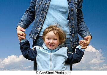 vrolijke , kind, met, mamma