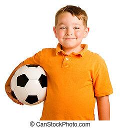 vrolijke , kind, met, voetbal, vrijstaand, op wit