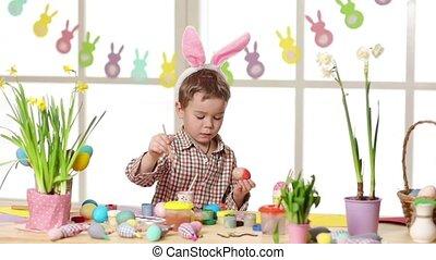 vrolijke , kind, vervelend, bunny oren, vervende eieren, op,...