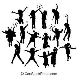 vrolijke , kinderen, activiteit, silhouettes