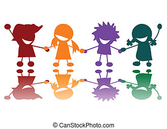 vrolijke , kinderen, in, vele kleuren