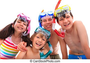 vrolijke , kinderen, met, snorkelt