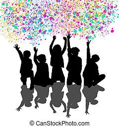 vrolijke , kinderen, op, de, feestje