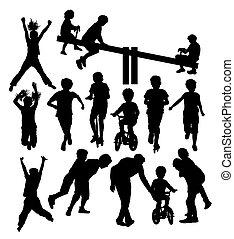 vrolijke , kinderen, plying, activiteit, silhouettes