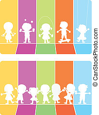 vrolijke , kinderen, silhouettes, achtergrond