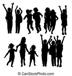 vrolijke , kinderen, silhouettes