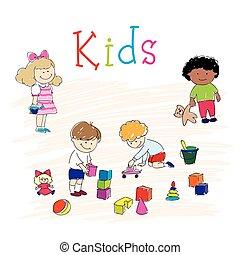 vrolijke , kinderen spelende
