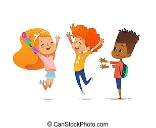 vrolijke , kinderen, sprong, met, verheven, hands., meisje, met, kunstmatig, robotic wapenen, en, haar, vrienden, verblijden, samen., insluiting, van, invalide, geitjes, concept., vector, illustratie, voor, spandoek, website, advertentie