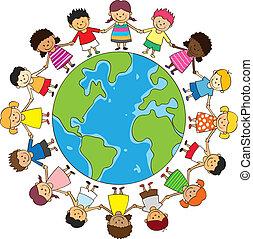 vrolijke , kinderen vasthoudende handen