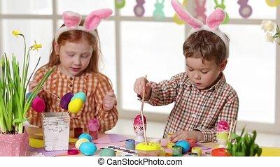 vrolijke , kinderen, vervelend, bunny oren, vervende eieren,...