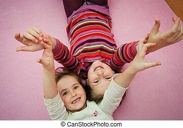 vrolijke , kindertijd, -, larking, meiden