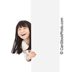 vrolijke , klein meisje, achter, een, witte raad