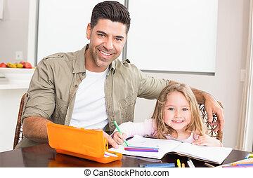 vrolijke , klein meisje, het verkleuren, aan tafel, met, haar, vader