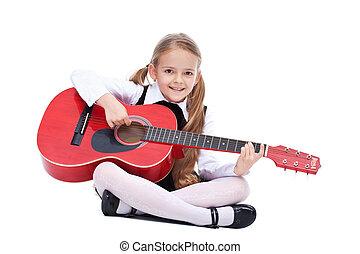 vrolijke , klein meisje, met, gitaar
