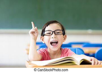 Staand klaslokaal school bord idee helder geitje meisje bril