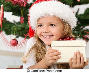 vrolijke , klein meisje, met, kerstkado