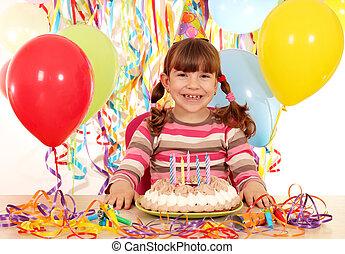 vrolijke , klein meisje, met, verjaardagstaart