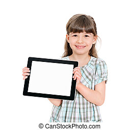vrolijke , klein meisje, vasthouden, een, leeg, tablet