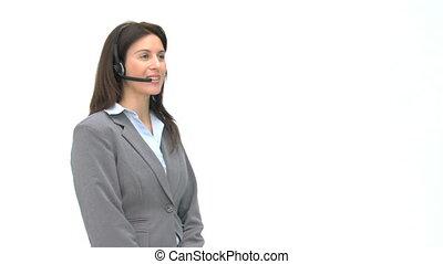 vrolijke , klesten, headphones, businesswoman
