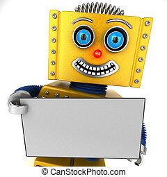 vrolijke , leeg, robot, vasthouden, meldingsbord