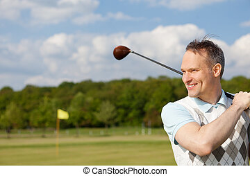vrolijke , man, beoefenen, golf