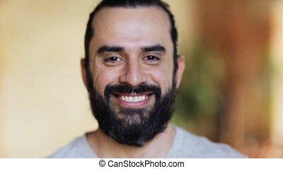 vrolijke , man, lachen, baard