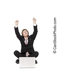 vrolijke , man, met, een, computer