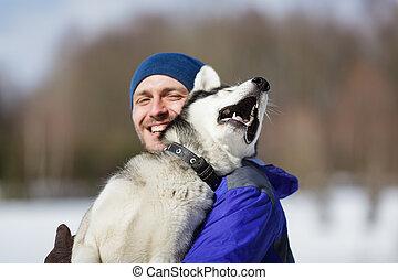 vrolijke , man, met, een, husky