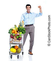 vrolijke , man, met, een, shoppen , cart.
