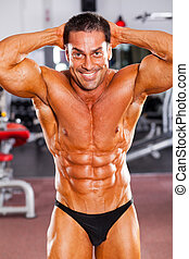 vrolijke , mannelijke , bodybuilder, in, gym