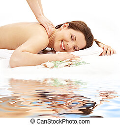 vrolijke , masseren, op wit, zand, #2